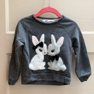 H&M furry bunny shirt fits age 1.5 -2